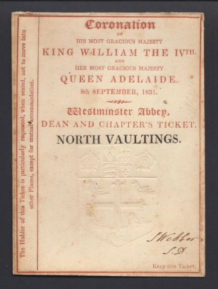 Coronation Ticket for King William IV & Queen Adelaide 1831 - Westminster Abbey